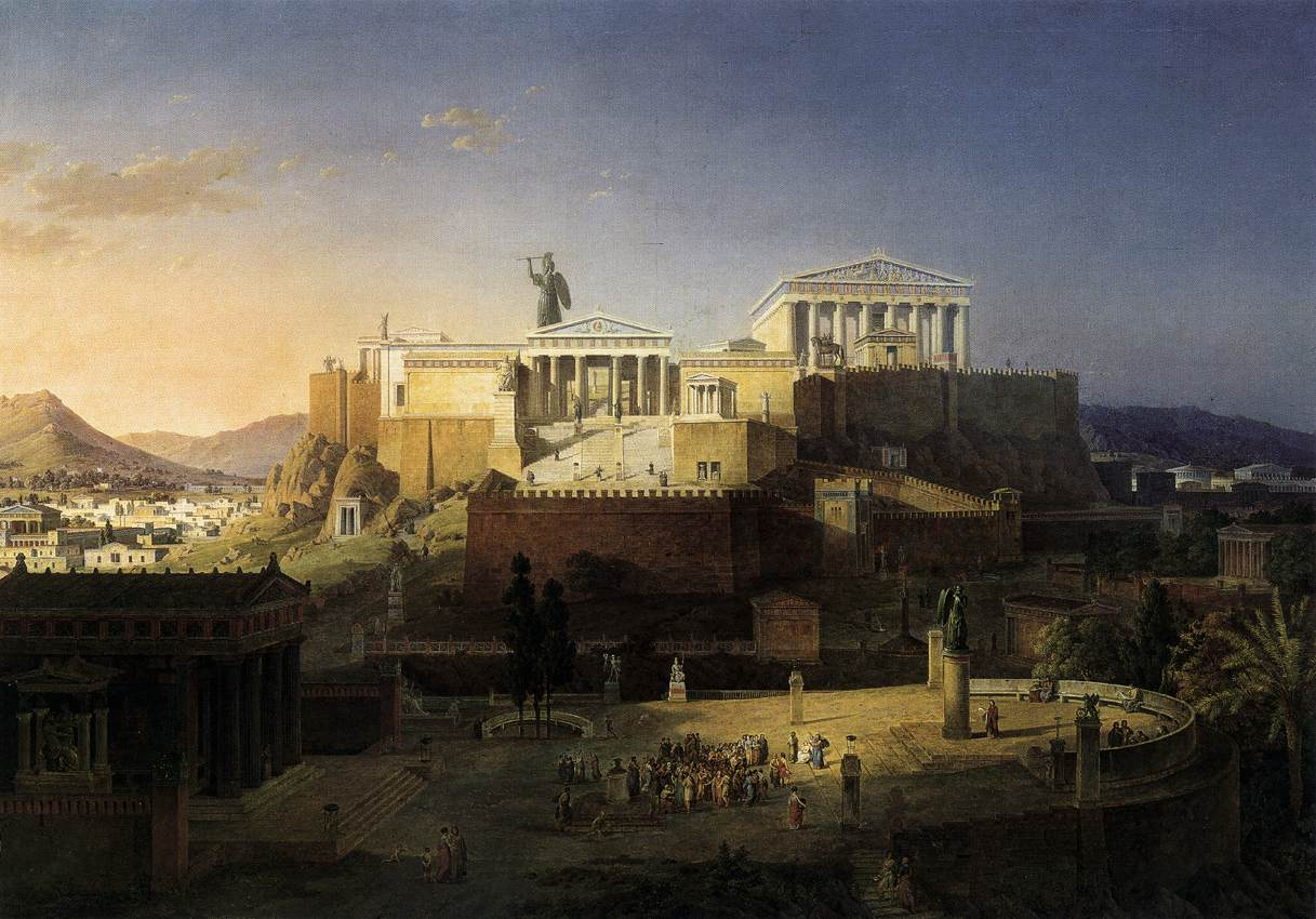 """Reconstruction of the Acropolis and Areus Pagus in Athens"" by Leo von Klenze, 1846"